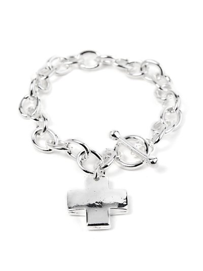 Chain link cross toggle bracelet( b1008sil_73)