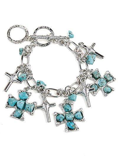 Toggle cross charms bracelet(b1793tq_24HD)