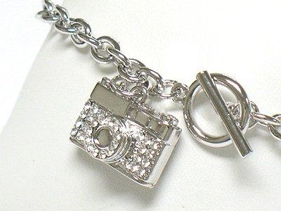 Crystal camera charm toggle bracelet(R1145SL-32536)