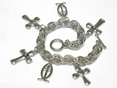 Crystal multi cross charm bracelet(J1133SL-32511)