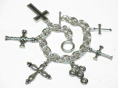 Multi cross charm bracelet(J1137SL-32513)