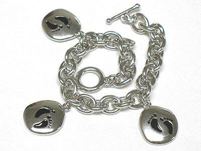 Footstep charm dangle bracelet(J1137BK-32514)