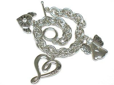 Heart and angel charm dangle bracelet(J1137SL-32517)