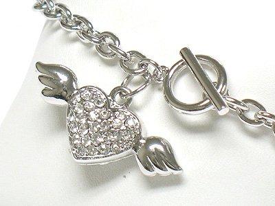 Winged heart toggle chram bracelet(R1141SL-32522)