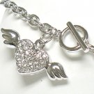 Winged heart toggle chram bracelet(R1141SL-32522)