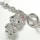 Crystal nodding cat charm toggle bracelet(R1149SL-32526)