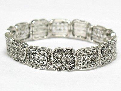 Marcasite looks metal stretch bracelet(M1145SL-32357)