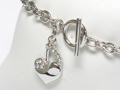 Music note theme heart charm bracelet(R1135SL-32395)