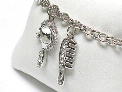Mirror and comb charm dangle bracelet(R1149SL-32393)