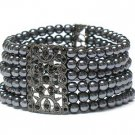Crystal deco multi row pearl beads bracelet(L11153GR-12914)