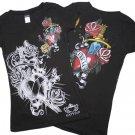 V Neck S/S Rhinestone Heart/Dagger T Shirt