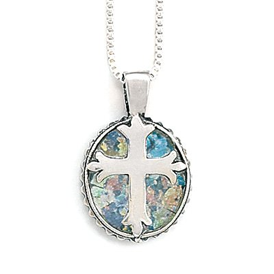 Round Ancient Roman Glass Cross Necklace(5471)