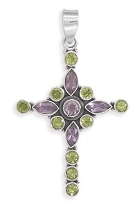 Amethyst and Peridot Cross Pendant(7692)