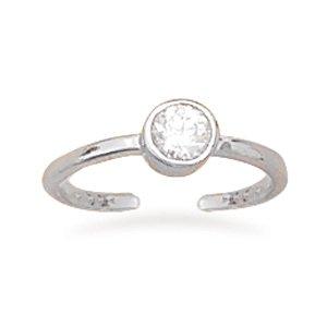 Rhodium Plated Round CZ Toe Ring(9608)