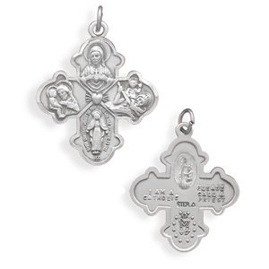 Reversible Catholic Cross Medallion Pendant(73595)