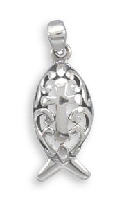 Ichthys and Cross Design Pendant(73431)