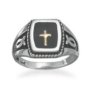 Sterling Silver Ring w/Ichthys & 14 Karat Gold Cross(82875)