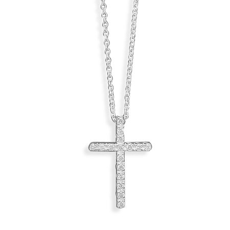 "16"" CZ Cross Necklace(3055)"