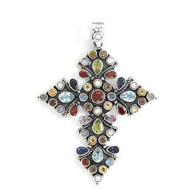 Oxidized Multicolor Stone Cross Pendant(7917)
