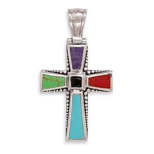 Multicolor Stone Cross Pendant(72013)