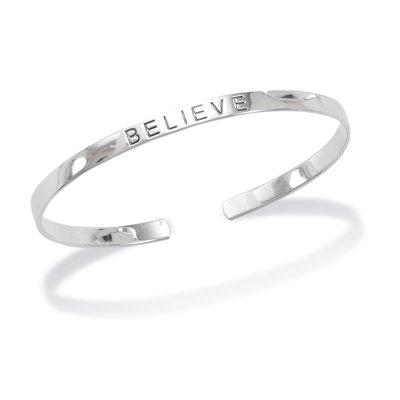 "4mm Rhodium Plated ""BELIEVE"" Cuff(22807)"
