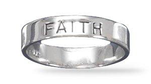 "Rhodium Plated ""FAITH"" Band(82621)"