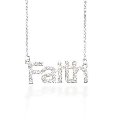 """18"""" Necklace with CZ """"Faith""""(33009)"""