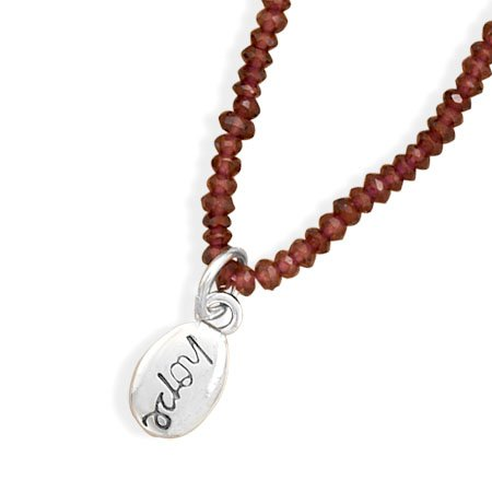 "Garnet Bead Necklace with ""hope"" Charm(33229)"