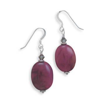 Serpentine and Crystal French Wire Earrings(64641)