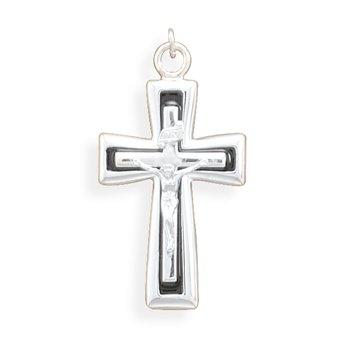 Crucifix with Black Enamel Inlay Pendant(73538)