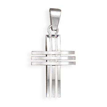 Stainless Steel 3 Row Design Cross Pendant(73530)