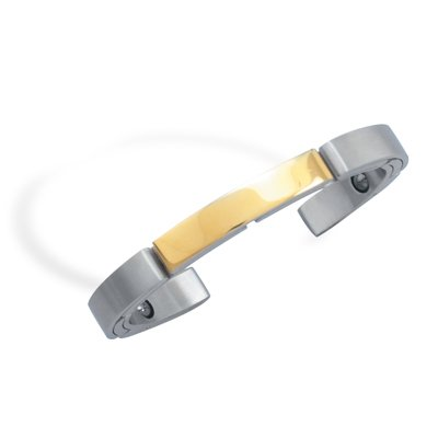 Stainless Steel and 14 Karat Gold Plated Cuff Bracelet(22926)