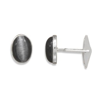 Black Fiber Optic Glass Cuff Links(9927)