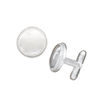 Polished Cuff Links with Rope Edge Design(9924)