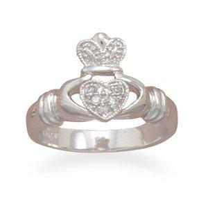 Rhodium Plated CZ Claddagh Ring(82826)