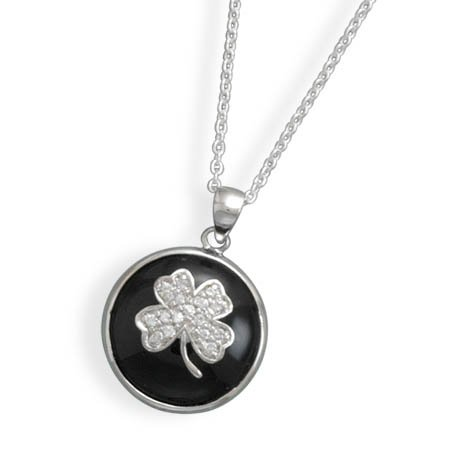 "18"" Black Onyx and CZ Clover Necklace(33309)"