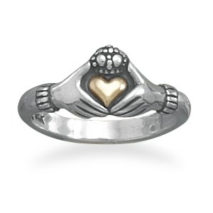 Sterling Silver Claddagh Ring w/14 Karat Gold Heart(82874)
