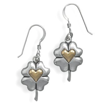 14 Karat Gold Clover with Heart Earrings(64727)