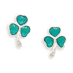 Green Epoxy Shamrock Stud Earrings(64360)