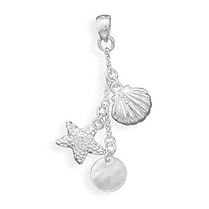 Clam, Star Fish & Shell Drop Fashion Pendant(W5036)