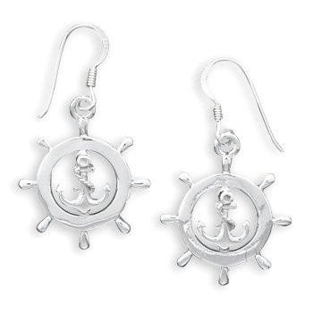 Nautical Ship's Wheel French Wire Earrings(64351)