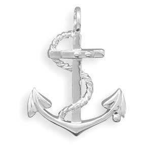 Polished Nautical Anchor with Rope Pendant( 73471)