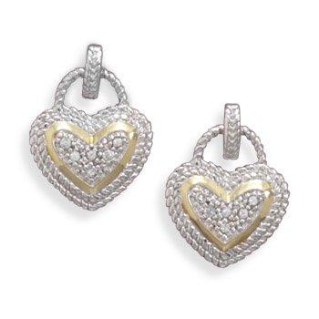Rhodium Plated 2 Heart Shape CZ Earrings(64618)