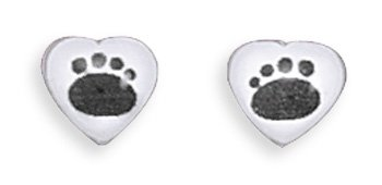Heart Stud Earrings with Paw Prints(64405)