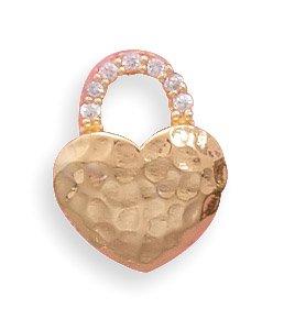 14 Karat Gold Plated Hammered Design Heart Slide(73461)