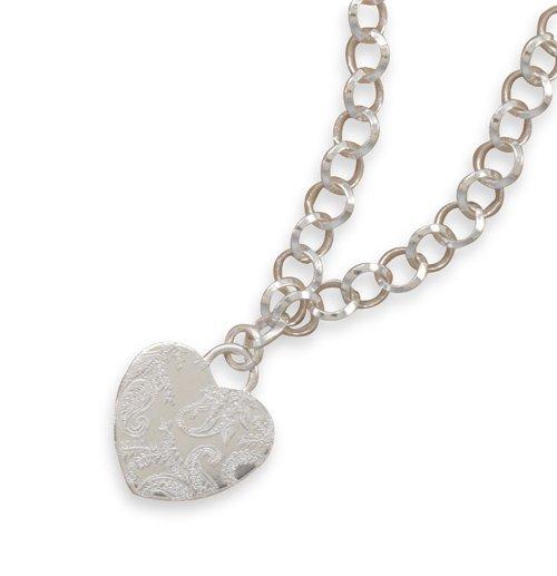 Paisley Print Design Heart Charm necklace(33080-17)