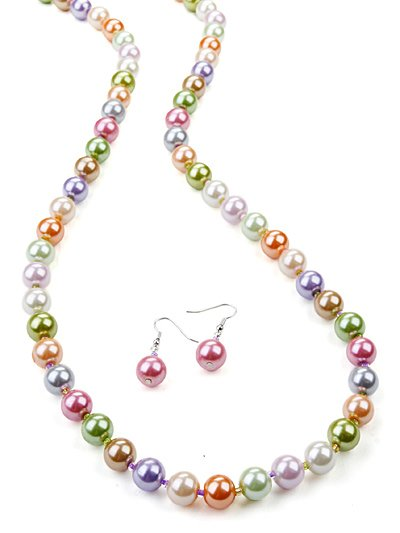 Pearl like beaded necklace(n11509mul_37HD)