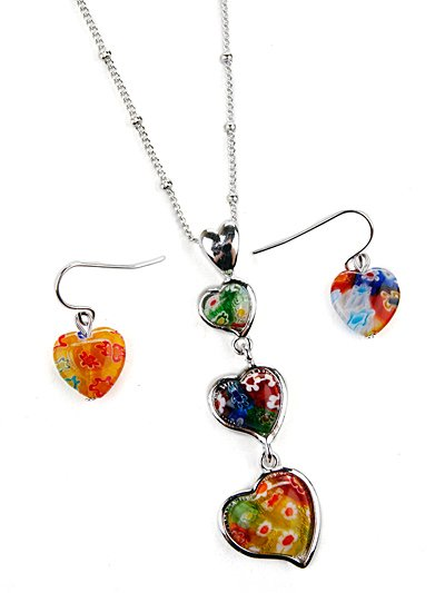 Floral glass ascending heart charm pendant set(n646bl_18HD)