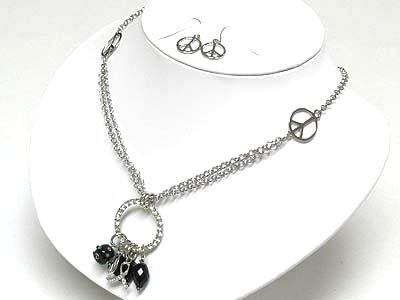 Peace Symbol necklace set(N1345BK-51539)