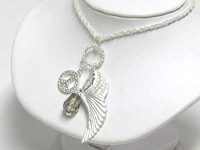 Peace Charm necklace(E1245SL-51592)